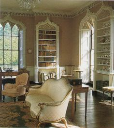 3566  The English Country House; Miers    The Gothick Library at Milton Manor in Oxfordshire, England. The house was likely built in the 1660s, but the library wing was added in 1776 by Stephen Wright, a student of William Kent.    [SO pretty.]