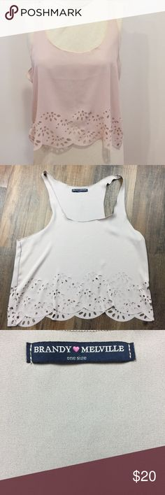 "Brandy Melville Laser Cut Blush Cropped Tank Brandy Melville Blush Laser Cut Tank.  One Size.  Armpit to armpit approx 19"" across, length approx 19"". Good condition.  C1. Brandy Melville Tops Tank Tops"