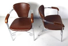 Leather and Chrome Armchairs | From a unique collection of antique and modern armchairs at https://www.1stdibs.com/furniture/seating/armchairs/