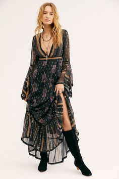 Natalia Maxi Dress by Free People, Black, XS Look Boho, Bohemian Style, Boho Chic, Free People Clothing, Free People Dress, Women's Clothing, Boho Outfits, Fashion Outfits, Fashion Styles