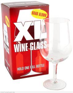 Funny Giant Wine Glass - Holds One Full Bottle of Wine - Great Gag Gift