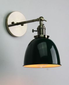 What you are looking at is an industral iron sconce light. The light cage can be closed, opened like flower petals or peeled fully back. A rotary switch is mounted at the top/rear of the fixture for easy access. Rustic Wall Lighting, Wall Sconce Lighting, Wall Sconces, Wall Lamps, Wall Mounted Bedside Lamp, Loft Wall, Bathroom Colors, Lamp Shades