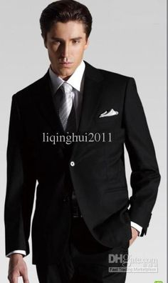 Wholesale 2012 new arrive black Groom Tuxedos men's suits groom prom suits wedding dress, Free shipping, $85.12-106.4/Set   DHgate