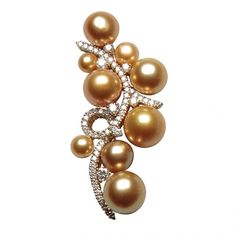 Brooch from the Buonna Anata Collection: composed of four natural golden South Sea pearls and five Keshi pearls set with 1.744 carat diamonds and 18-karat yellow gold by Jewelmer
