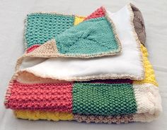 knit patterns/scraps in a blanket...great idea for all those 'test' pieces! must do!!!