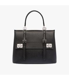 b25926e63b Prada Leather Top-Handle Bag In Black