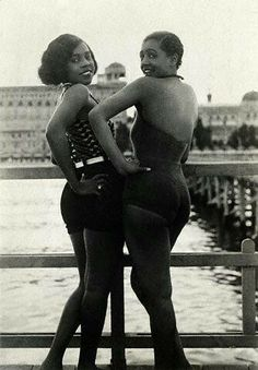 "The caption from Corbis on this circa 1920s picture reads ""Photo shows Thelma and Bonnie, called the ""Graceful Creoles,"" posing coyly for the photographer at the Lido."""