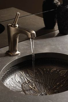 Far Eastern-inspired metal sink with beautiful patterns... Bathroom Design Ideas: Beautiful Sink Inspiration from Bathroom Bliss by Rotator Rod