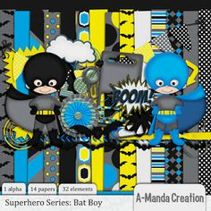Superhero, Batman, Batgirl and Captain America digital scrap kits!
