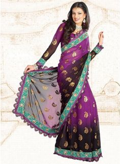 Luscious Black & Magenta Color Faux Georgette Based Embroidered #Saree