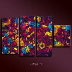 Модульная картина от 2stick.ru Абстарактный взрыв сверхновых звезд