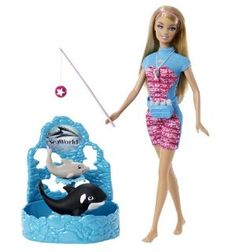 Barbie I Can Be... Sea World Trainer Playset by Mattel. $18.39. Collect all your favorite Barbie I Can Be dolls. Includes Barbie doll, whale and dolphin friends, waist pack, fish food, whistle and toy. Code inside each package unlocks career-themed content online. Wow the crowd with Barbie and her animal friends. Girls can play out the role of Sea World trainer. From the Manufacturer                Barbie I Can Be... Sea World Trainer Playset: Girls can play out the ...