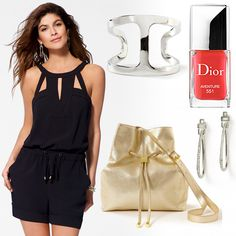 "Glam summer #HeadToToeThursday. Romper and accessories from Caché, nail polish by Dior in ""Adventure."""