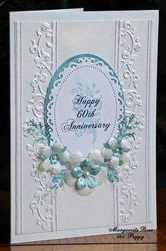 wedding anniversary by Marguerite Rose - Cards and Paper Crafts at Splitcoaststampers: Couture Creations embossing folder Annalee, Spellbinders ovals and floral ovals, Memory Box cherry blossom die, Martha Stewart branch and rose leaf punches, McGil Pretty Cards, Love Cards, 60 Wedding Anniversary, Anniversary Ideas, Happy Anniversary, Spellbinders Cards, Embossed Cards, Creative Cards, Cartonnage