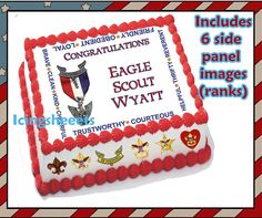 Eagle Scout Boy Scout ranks Edible icing custom cake decorations frosting top Court of Honor