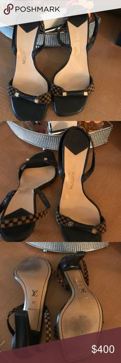 Authentic Louis Vuitton Brown and Beige LV Sandals Louis Vuitton Damier Calf hair Sandals with Gold LV. This item is still in Great Condition .   Box dust bag not included Louis Vuitton Shoes Sandals
