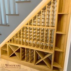 Bespoke under stairs wine racking project installed in Essex, UK. Fits the space perfectly under the Under Basement Stairs, Closet Under Stairs, Space Under Stairs, Basement Ideas, Wine Bottle Storage, Wine Rack Storage, Storage Shelves, Wine Racks, Storage Ideas