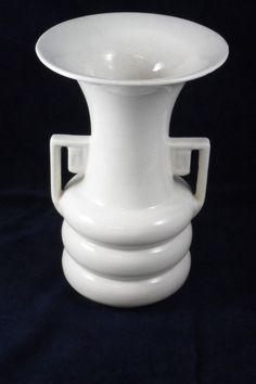Abingdon White handled Urn Style Vase by auctionannie on Etsy (Home & Living, Home Décor, Vases, vintage, antique, home decor, vase, pottery, cottage, abingdon, white, urn, country, classic design, deco, housewares)