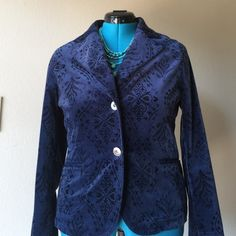 """Blue Jacket Slimming and sexy jacket with velour type feel. In excellent used condition no snags or tears. •materials: 97% cotton / 3% spandex• dry clean pit to pit measures 40"""" waist is 35"""" if worn buttoned, length is 23.5"""" front and 24"""" in the back (ribbon allows you to go smaller) Ideology Jackets & Coats"""