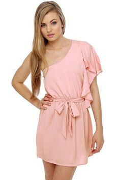 Cute Pink Dress - One Shoulder Dress - Ruffle Dress - $32.00... nutcracker? #lulusholiday