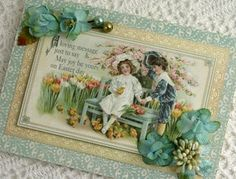 BEAUTY Easter card with Botanica flwoers close up smaller- Using Graphics 45 Sweet Sentiments
