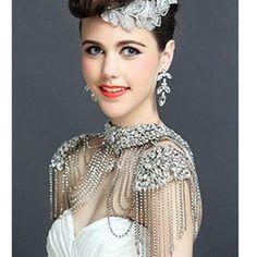 Luxury Crystal Bride Shoulder Necklace Chain Jewelry Wedding Rhinestone Pageant
