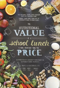 "Graphic Design / Poster ""The Nutritional Value of a School Lunch"" / #typography #photography #food"