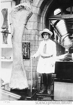 girl with a dinosaur bone, 1920s