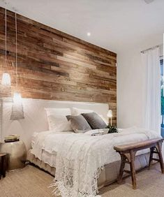 Modern Rustic Bedroom Cozy rustic farmhouse bedroom ideas Boho vintage romantic bedding design Simple and elegat in white pink neutral wood colors rugs lamps pillows furniture decorations Modern Rustic Bedrooms, Rustic Bedroom Design, Rustic Master Bedroom, Master Bedroom Design, Home Decor Bedroom, Wood Wall In Bedroom, Trendy Bedroom, Wood Bedroom Furniture, Ikea Bedroom