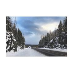Michigan Open Road in Winter on Canvas - winter gifts style special unique gift ideas