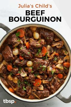 Julia Child's Beef Bourguignon - - Julia Child's Beef Bourguignon Dinner Ideas When a recipe is this good, there's no need to rush. Julia Child's Beef Bourguignon is a classic for a reason, and you'll see and taste why. Beef Recipes For Dinner, Soup Recipes, Healthy Recipes, Cubed Beef Recipes, Recipies, Pot Roast Recipes, Recipes With Beef Stew Meat, French Recipes Dinner, Crockpot Beef Recipes