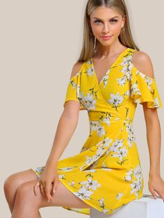 Open Shoulder Flutter Sleeve Surplice Wrap Dress