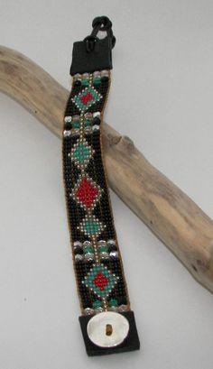 Retro BlackTurquoiseRed Bead Loom Bracelet by AdoraDesigns