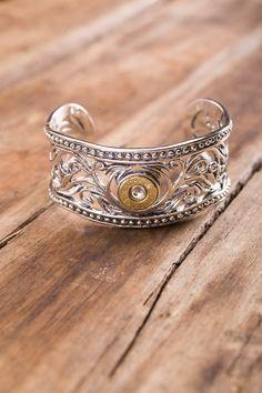 Sterling Silver Bullet Cuff Bracelet on BourbonandBoots.com #bulletjewelry #madeinkentucky