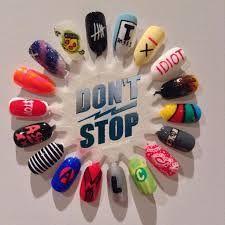 5sos nail art!