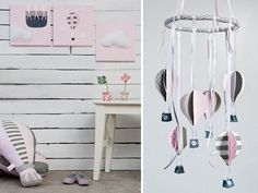 Pink and gray Hot Air Balloons baby girl nursery decor  by Nuppi
