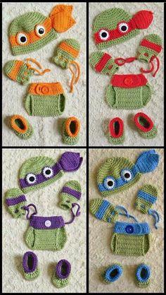 Ninja turtles crochet infant outfits.