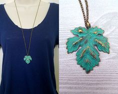 Necklace details:  • Pendant is antique brass-colored leaf with turquoise details made of zinc alloy metal • Pendant is 1.5 in height and 1.5 in width • Chain is antique brass tiny flat soldered cable chain 2x1.4mm • Necklace is 30 with 2 extender chain and lobster clasp closure • Lead safe, nickel safe • Base metal of chain is brass  Other information:  • Every purchase from our shop supports nature-related organizations • This necklace is part of our Into the Woods collection, and supports…