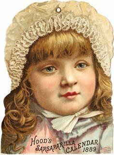 -CatnipStudioCollage-: Free Vintage Clip Art - Hoods Sarsaparilla 1889 Calendar Girl