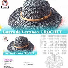 Crochet Summer Hat all in one – Pattern, Video, Chart - De Crochet Summer Hats, Cute Crochet, Knit Crochet, Crochet Hats, Cowboy Crochet, Sombrero A Crochet, Hemp Yarn, Raffia Hat, Crochet Hat Patterns