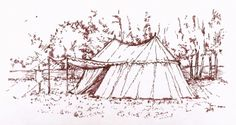 A pen and ink illustration by Alan Whittle, of the players' marquee, during the LRP event, held in Derby, over the late May BH weekend of 2014