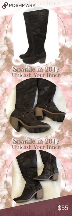 🍰30% OFF BUNDLES🍰 Birthday Bash. ♦️FIRM PRICE♦️Over the knee faux leather cow girl boots...really stylish! The dark-brown fashion boots have a 'western' appeal with decorative straps and buckles at the knees and ankles. Their is a 10-inch, functional zipper on the inner calf for ease in putting them on and taking them off. These boots have so many things going for them along with the clean bottom soles and 3 inch heel. Save 30% by bundling with another item from my closet. FREE TOKEN GIFT…