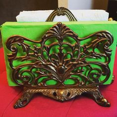 Vintage large ornate double sided brass napkin/letter holder. Very heavy brass. Measures......well I forgot to measure this one If you are interested and need to know the measurements just send me a message. Sorry! $ 42.00 shipped