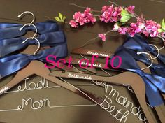 Personalized custom hanger is the perfect gift for bridesmaids! This is a listing for TEN wood custom hangers with a bow.Adding the wedding
