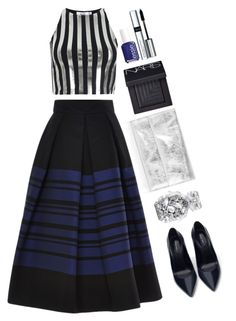 """Martin grant cotton blend stripped skirt"" by thestyleartisan ❤ liked on Polyvore featuring Bundy & Webster, Martin Grant, Topshop, NARS Cosmetics, By Terry, Zara, Victoria's Secret, Essie, women's clothing and women"