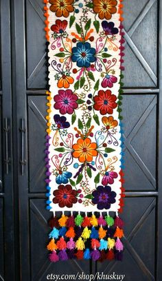 Table Bed runner embroidered by khuskuy anthropology alike but way cheaper! SAVE 15% with code PIN15 at checkout