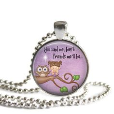 Silver Plated Pendant  Best Friends by NowThatsCharming on Etsy, $14.99
