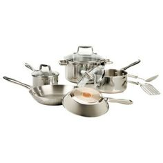 T-Fal 10- pc. Copper Bottom Stainless Steel Cook Set.Opens in a new window