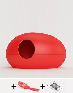Cat litter box, color red, http://www.pet-interiors.de/de/katzentoilette-poopoopeedo_artnr300000