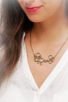 Boobles necklace. Stylish Bronze Plated boobles Necklace. Nice branch shape necklace. by Estibela on Etsy